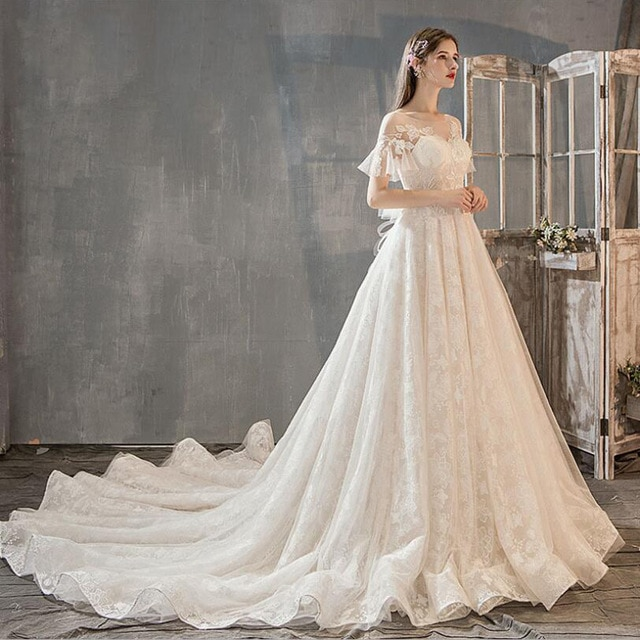 Gorgeous Appliques Royal Train Lace A Line Wedding Dresses 2019 New Sexy O Neck Short Sleeve 17.jpg 640x640 17