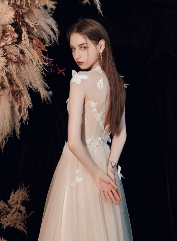 Butterfly Design Tulle Backless Graduation Dress GY203039