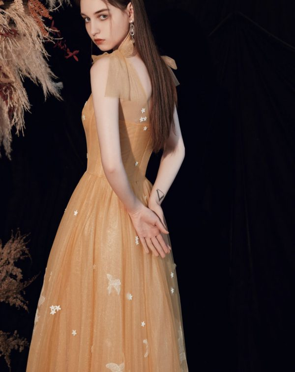 Orange Tulle floor length prom dress with flowers and butterflies 2020