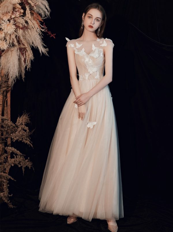 Butterfly Design Tulle Backless prom Dress GY203039
