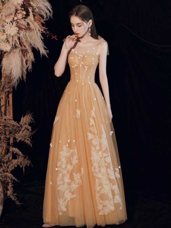 Tulle floor length prom dress with flowers and butterflies 2020